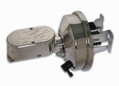 SSBC - SSBC Billet Aluminum Dual Bowl Master Cylinder - Flamed Cap and 9 Inch Chrome Booster - A28138CB-3