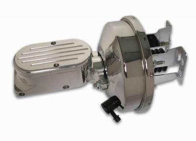 SSBC - SSBC Billet Aluminum Dual Bowl Master Cylinder - Ball Milled Cap and 9 Inch Chrome Booster - A28138CB-4
