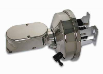 SSBC - SSBC Billet Aluminum Dual Bowl Master Cylinder - Plain Cap and 9 Inch Chrome Booster - A28141CB-1