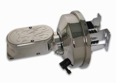 SSBC - SSBC Billet Aluminum Dual Bowl Master Cylinder - Flamed Cap and 9 Inch Chrome Booster - A28141CB-3