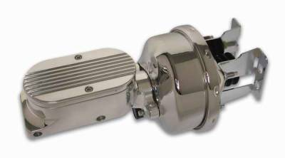SSBC - SSBC Billet Aluminum Dual Bowl Master Cylinder - Finned Cap and 7 Inch Chrome Booster - A28142CB-2
