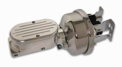 SSBC - SSBC Billet Aluminum Dual Bowl Master Cylinder - Ball Milled Cap and 7 Inch Chrome Booster - A28142CB-4