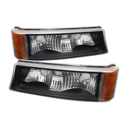 Spyder - Chevrolet Silverado Spyder Amber Reflector Bumper Lights - Black - CBL-ZO-CS03-AM-BK
