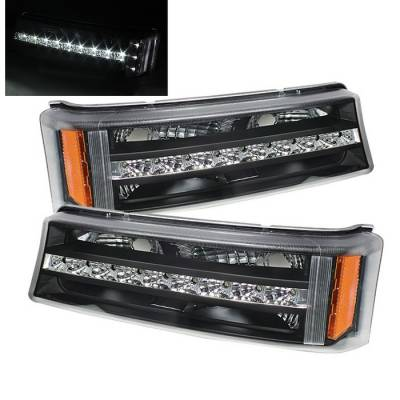 Spyder - Chevrolet Silverado Spyder LED Amber Reflector Bumper Lights - Black - CBL-ZO-CS03-LED-AM-BK