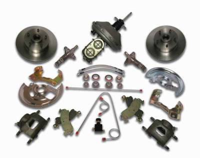 SSBC - SSBC Power Drum to Disc Brake Conversion Kit with 2 Inch Drop Spindles & 2 Piston Aluminum Calipers - Front - A123-5