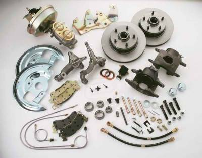 SSBC - SSBC Power Drum to Disc Brake Conversion Kit with 2 Inch Drop Spindles & 2 Piston Aluminum Calipers - Front - A123-58DS