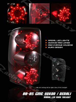 Custom - Red Chrome Housing Smoke LED Taillights