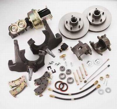 SSBC - SSBC Power Drum to Disc Brake Conversion Kit with 2 Inch Drop Spindles & 2 Piston Aluminum Calipers - Front - A140