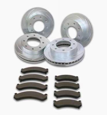 SSBC - SSBC Turbo Slotted Rotors with Xtra Life Plating & Pads - Front & Rear - A2351024