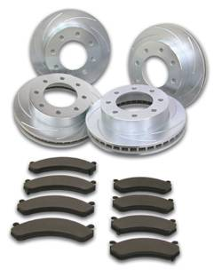 SSBC - SSBC Turbo Slotted Rotors with Xtra Life Plating & Pads - Front & Rear - A2351028