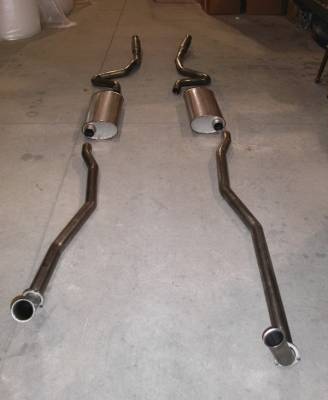Stainless Works - Chevrolet Chevelle Stainless Works Exhaust System - Dual Muffler with Resonator - CV69BB0SR