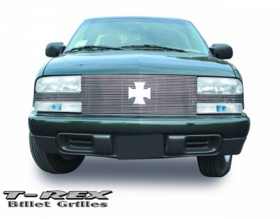 T-Rex - Chevrolet S10 T-Rex Full Face Billet Grille with Bowtie Installed - 25 Bars - 20278