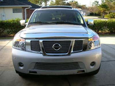 T-Rex - Nissan Armada T-Rex Billet Grille Overlay - Bolt On Insert with Logo Opening - 3PC - 21784