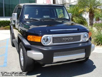 T-Rex - Toyota FJ Cruiser T-Rex Billet Grille Overlay - Bolt On with logo Opening - 12 Bars - 21932