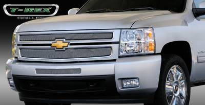 T-Rex - Chevrolet Silverado T-Rex Sport Series Formed Mesh Grille - Stainless Steel - Triple Chrome Plated - 2PC - 44110