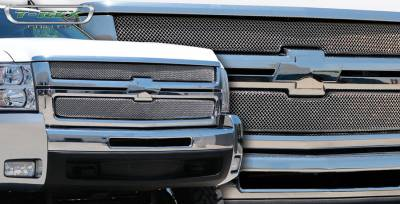 T-Rex - Chevrolet Silverado T-Rex Sport Series Formed Mesh Grille - Stainless Steel - Triple Chrome Plated - 2PC - 44112