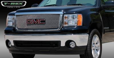 T-Rex - GMC Sierra T-Rex Sport Series Formed Mesh Grille - Stainless Steel - Triple Chrome Plated with Logo Opening - 44204