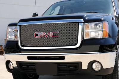 T-Rex - GMC Sierra T-Rex Sport Series Formed Mesh Grille - Stainless Steel - Triple Chrome Plated with Logo Opening - 44207
