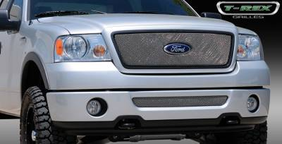 T-Rex - Ford F150 T-Rex Sport Series Formed Mesh Grille - Stainless Steel - Triple Chrome Plated with Logo Opening - 44556