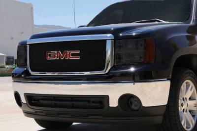 T-Rex - GMC Sierra T-Rex Sport Series Formed Mesh Grille - All Black Powdercoat with Logo Opening - 46204