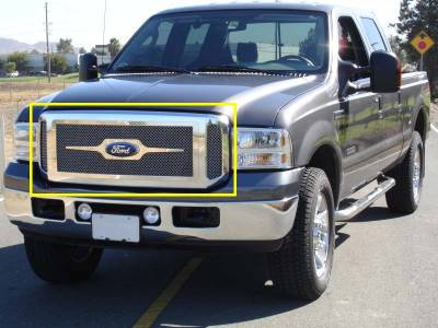 T-Rex - Ford Superduty T-Rex Grille Assembly - Aftermarket Chrome Shell with 3PC Style Mesh - 50562
