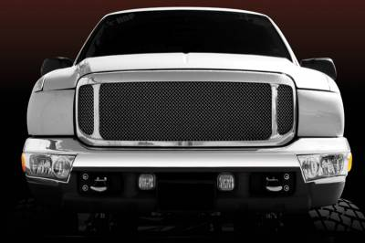 T-Rex - Ford Superduty T-Rex Grille Assembly - Aftermarket Chrome Shell with All Black Mesh - 50572