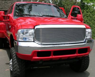 T-Rex - Ford Superduty T-Rex Grille Assembly - Aftermarket Chrome Shell with 1PC Flush Billet - 50574