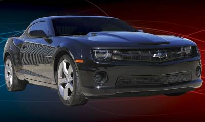 T-Rex - Chevrolet Camaro T-Rex Upper Class Mesh Grille - All Black with Center Bar & Formed Mesh with Signal and OE Logo Openings - 51028