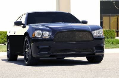 T-Rex - Dodge Charger T-Rex Upper Class Mesh Grille - Full Opening - All Black with Formed Mesh Center - 51441