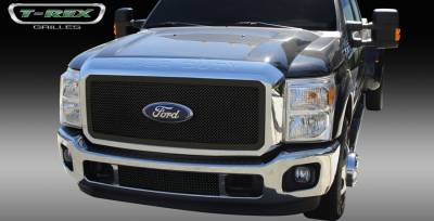T-Rex - Ford Superduty T-Rex Upper Class Mesh Grille with Optional Logo Plate - All Black Powdercoat - 51546
