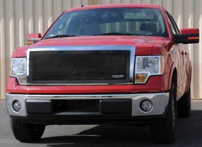 T-Rex - Ford F150 T-Rex Upper Class Mesh Grille - Full Opening with Formed Mesh Center - All Black - 1PC - 51568