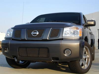 T-Rex - Nissan Titan T-Rex Upper Class Mesh Grille - All Black with Logo Opening - 3PC - 51781