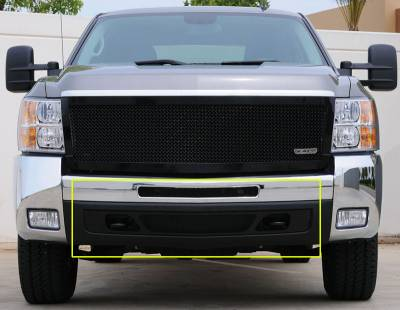 T-Rex - Chevrolet Silverado T-Rex Upper Class Bumper Mesh Grille - All Black - 2PC - 52112