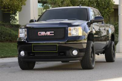 T-Rex - GMC Sierra T-Rex Upper Class Polished Stainless Bumper Mesh Grille - Top Steel Bumper Opening - All Black - 52209