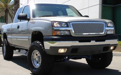 T-Rex - Chevrolet Silverado T-Rex Upper Class Polished Stainless Mesh Grille - Custom Cut Full Opening - Includes End Caps - 54101