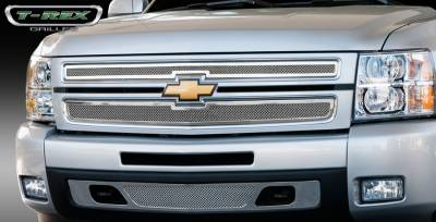 T-Rex - Chevrolet Silverado T-Rex Upper Class Polished Stainless Mesh Grille - 2PC Style - 54110
