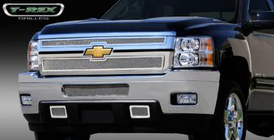T-Rex - Chevrolet Silverado T-Rex Upper Class Polished Stainless Mesh Grille - 2PC Style - 54114
