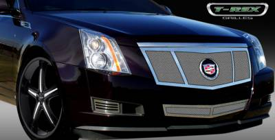 T-Rex - Cadillac CTS T-Rex Upper Class Polished Stainless Mesh Grille - 3 Opening Design - Formed Mesh with Recessed Logo Area - 54198