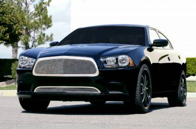 T-Rex - Dodge Charger T-Rex Upper Class Polished Stainless Mesh Grille - Full Opening with Formed Mesh Center - 54441