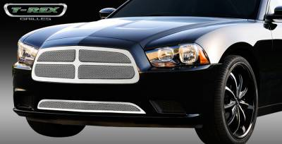 T-Rex - Dodge Charger T-Rex Upper Class Polished Stainless Mesh Grille with Formed Mesh - 4PC Style - 54442