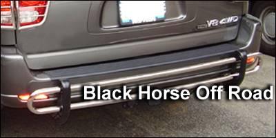 Black Horse - Toyota Sequoia Black Horse Rear Bumper Guard - Double Tube