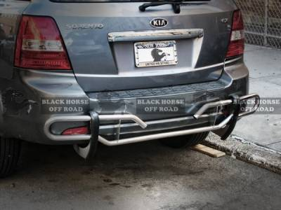 Black Horse - Kia Sorento Black Horse Rear Bumper Guard - Double Tube