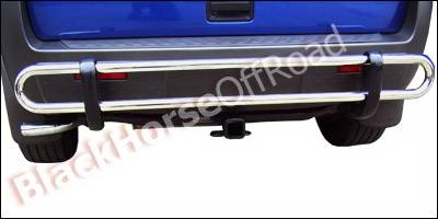 Black Horse - Hyundai Tucson Black Horse Rear Bumper Guard - Double Tube