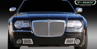 T-Rex - Chrysler 300 T-Rex Upper Class Polished Stainless Mesh Grille - Bentley Syle with Center Vertical Bar - 54479