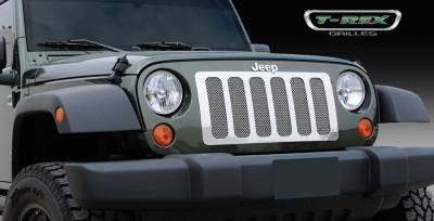 T-Rex - Jeep Wrangler T-Rex Upper Class Polished Stainless Mesh Grille - 6 Opening Design - With Formed Mesh - 1PC - 54482