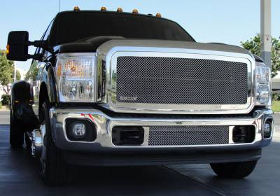 T-Rex - Ford Superduty T-Rex Upper Class Polished Stainless Mesh Grille with Optional Logo Plate - 54546