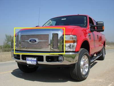 T-Rex - Ford Superduty T-Rex Upper Class Polished Stainless Mesh Grille with Optional Logo Plate - 54563