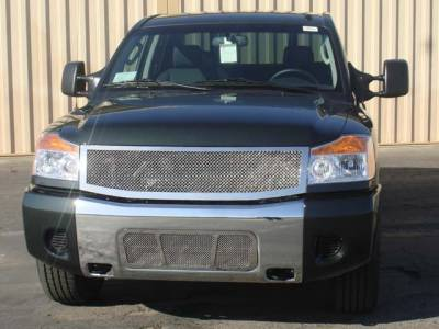 T-Rex - Nissan Titan T-Rex Upper Class Polished Stainless Mesh Grille - 1PC - 54779
