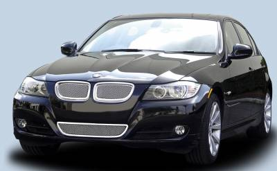 T-Rex - BMW 3 Series T-Rex Upper Class Polished Stainless Mesh Grille with Formed Mesh Center - 2PC - 54992