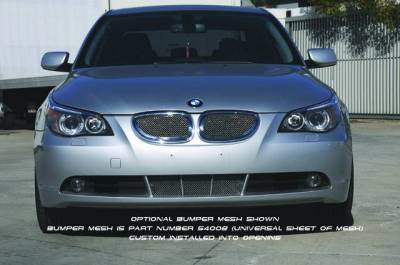 T-Rex - BMW 5 Series T-Rex Upper Class Polished Stainless Mesh Grille with Formed Mesh Center - 2PC - 54995